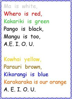 I chose this rhyme because NZ children learn Maori​ words and its meaning. Early Childhood Activities, Childhood Education, Kids Education, Color Song For Kids, Color Songs, Songs For Toddlers, Kids Songs, Maori Songs, Maori Legends