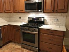 2x4 White Subway Tile Dark Gray Grout Xenon Under