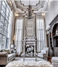 Elegant Mansion Living Room Ideas Elegantes Herrenhaus Wohnzimmer Ideen www. Elegant Living Room, Living Room Grey, Interior Design Living Room, Living Room Designs, Living Room Decor, Living Rooms, Interior Livingroom, Design Room, Living Area