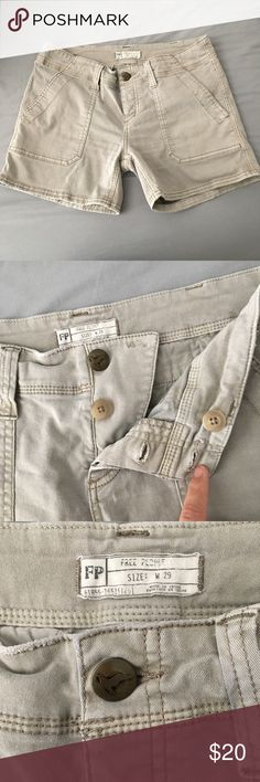 Free people shorts These are meant to look a little distressed. They are like a gray khaki color. For mid thigh so they aren't booty shorts. Very comfortable fit. Back pockets are faux. Front ones are real. These can be folded also. Button up fly. Used a few times. No stains or rips Free People Shorts Bermudas