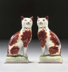 Staffordshire Pottery Cats England, late 19th-early 20th century