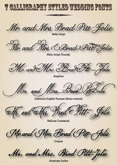 CT-Designs Calligraphy and Wedding Stationery: 7 Calligraphy Styled Wedding Fonts Cursive Fonts, Penmanship, Calligraphy Fonts, Script, Wedding Fonts, Diy Wedding, Wedding Ideas, Dream Wedding, Wedding Inspiration