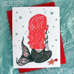 MISS ANEMONE MERMAID // Glittered Valentine Cards by Line117 on Etsy