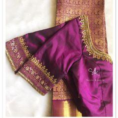 No photo description available. Wedding Saree Blouse Designs, Simple Blouse Designs, Stylish Blouse Design, Silk Saree Blouse Designs, Blouse Neck Designs, Wedding Blouses, Simple Designs, Traditional Blouse Designs, Blouse Designs Catalogue