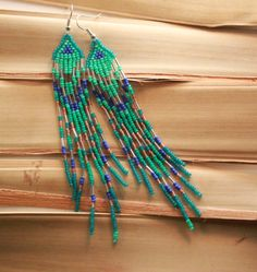 Bohemian Seed Beaded Earrings Native American Shoulder Duster Gypsy Chic Long Tribal Seed Beaded Jewelry Native Indian Bead Work Turquoise by NativeStyles on Etsy