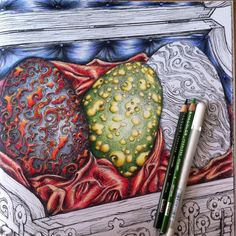 Added Rhaegal's egg! From A Game of Thrones; illustration by the famous John Howe; Dany's wedding present (dragon eggs!). #gameofthrones #gameofthronescoloringbook #gameofthronescolouringbook #johnhowe #georgerrmartin #prismacolor #satin #dragons #dragoneggs #daenerys #dany #weddingpresent #drogon #rhaegal #viserion