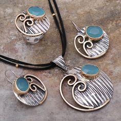 Kalsedon Taşlı Tasarım El Yapımı Çekiç Dövme Gümüş Set 1742