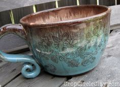 Gigantic Soup Mug Henna Tattoo Latte Flower Doodle Snack bowl Shabby Chic Pottery Robins Egg Blue Blue Brown Rustic, Earthy, Inspirational
