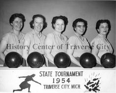 Bun Brady's bowling team, 1954. Hennrick, Boulle, Hahenberg, Brady, Vezina: History Center of Traverse City
