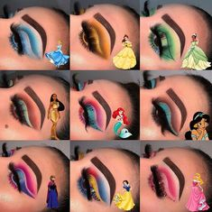 Eye looks to match Disney princesses Comment below which is your favourite loo. Pocahontas Makeup, Disney Eye Makeup, Disney Inspired Makeup, Disney Princess Makeup, Barbie Makeup, Eye Makeup Art, Scary Makeup, Drugstore Makeup, Disney Villains Makeup