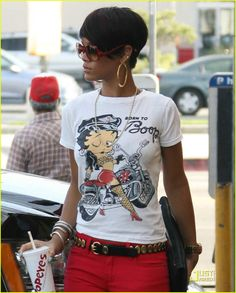 Rihanna | i love the accessories she paired with such a cool fit. It all equals = dopeness.