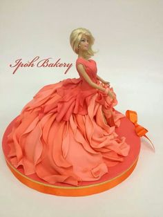 Ipoh Bakery - beautiful orange ball gown Barbie cake