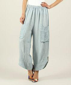 Sky Side Pocket Linen Harem Pants