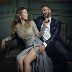 Jessica Biel and Justin Timberlake | Mark Seliger's Vanity Fair Oscar Party Portrait Studio
