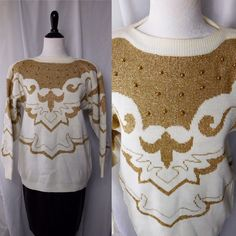 1980s Vintage Baroque Maurada Metallic Gold White Crew Neck Sweater Studded Beaded Studs Embellished Small S by CompulsiveNeurons on Etsy