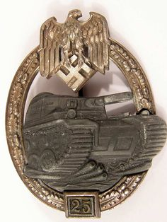 """Army / Waffen SS Panzer Assault Badge in silver for 25 engagements by JFS This excellent example displays much of its original frosted along the wreath and darkened Wehrmacht eagle above bayonet and stick grenade. The 25 engagement front plate is separately attached. The reverse displays the wide pin, crimped hinge assembly and recessed 'C"""" catch."""