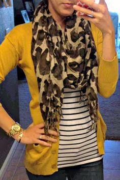 Mustard yellow sweater and stripped shirt with perfect leopard scarf inspiration
