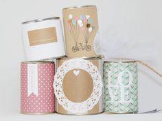 **Diese Wedding Cans kommen im 5er Pack an - fertig zum anbinden und losfahren... die Dosen kann man _selbst_ mit dem Namen des Brautpaares und dem Hochzeitsdatum individualisieren. An den...