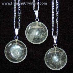 Crystal Pendants - Clear Quartz Coin Pendant- Clear Quartz - Healing Crystals