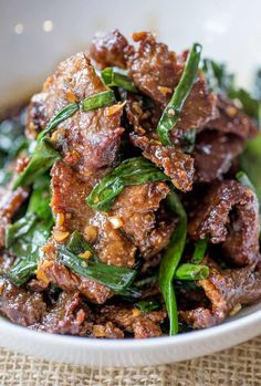 Easy Mongolian Beef | One bite of this delicious, saucy Chinese beef is enough to get you hooked!