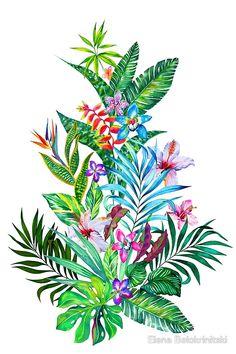 """Tropical Fest"" Art Prints by Elena Belokrinitski Exotic Flower Tattoos, Exotic Flowers, Tropical Flowers, Tropical Plants, Tropical Tattoo, Hawaiian Tattoo, Flowers Illustration, Watercolor Illustration, Watercolor Tattoo"