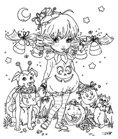 -Traditionnal art - Ink - This lineart was made for the 2014 Halloween Colorig Contest in CutiePieWonderland More info here : Cutie Pie + Halloween = COLORING CONTEST! *Long post, read 'till the en. Coloring Book Pages, Printable Coloring Pages, Coloring Pages For Kids, Halloween Coloring Pages, Adult Halloween, Copics, Colorful Pictures, Tattoos, Deviantart