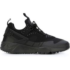 Nike Air Huarache Utility Sneakers ($130) ❤ liked on Polyvore featuring shoes, sneakers, black, flat sneakers, round cap, nike, black flat shoes and round toe sneakers