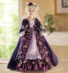 Purple Velveteen Collectible Porcelain Doll