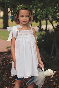 """Elizabeth Layne Heirloom - The Layne Ribbon Heirloom Dress - batiste dress with French lace yoke, satin ribbons on shoulders, comes in pink, blue and white, ecru lace also available - the perfect portrait dress, beach portrait dress,  A """"grow with me"""" dress - fits at age 2 as a dress and a6-year-old as a top.  Perfect heirloom to hand down to grandchildren one day."""