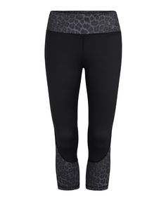 CHELSEA - BLACK WITH BLACK LEOPARD - 3/4 COMPRESSION TIGHTS