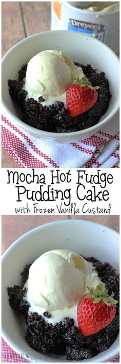 Mocha Hot Fudge Pudding Cake with Dreyer's Frozen Vanilla Custard #ad