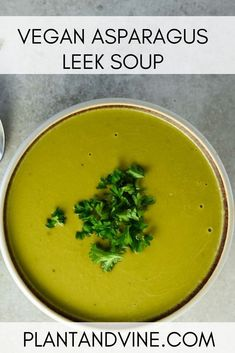 Vegan Asparagus Soup Easy, healthy, and quick vegan asparagus leek soup recipe – perfect for the spring time when asparagus comes in season. Dairy-free and delicious. Check out Plant & Vine for more vegan recipes and wine pairing ideas. Vegan Lunch Recipes, Vegan Breakfast Recipes, Vegan Vegetarian, Vegan Soups, Vegan Meals, Vegan Food, Food Food, Healthy Soups, Paleo