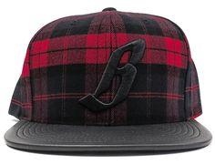 Plaid B Leather Logo Snapback Cap by BILLIONAIRE BOYS CLUB x MITCHELL & NESS