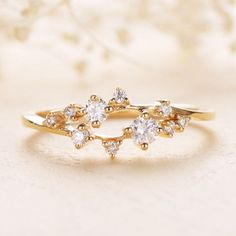 Diamond Cluster Ring Twig Engagement Ring Floral Unique Wedding Band Snowflake Yellow Gold Dainty Flower Mini Tiny Anniversary Promise by LoveRingsDesign on Etsy https://www.etsy.com/listing/511501067/diamond-cluster-ring-twig-engagement