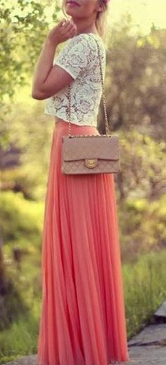So Pretty! Love this Outfit! White Lace Top + Watermelon Red Plain Pleated Bohemian Maxi Skirt #White #Lace #Top #Chanel #Bag #Watermelon #Red #Coral #Maxi #Skirts #Bottoms #Pretty #Spring #Summer #Fashion #Outfit #Ideas