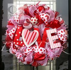 LOVE You Lots deco mesh wreath by DzinerDoorz on Etsy, $115.00