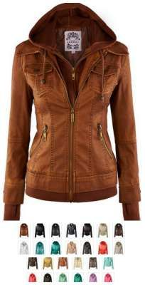 this leather jacket is stylish, warm and adorable! leather hoodie jacket coat