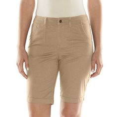 Croft & Barrow Classic Fit Twill Bermuda Shorts - Women's, Size: 16 (Beige/Khaki) (400988223642) Expand your warm-weather wardrobe with these women's Croft & Barrow Bermuda shorts. Soft and stretchy twill construction ensures lasting comfort. PRODUCT FEATURES Cuffed hems Pork chop pockets 4-pocket FIT & SIZING 9 1/4-in. inseam Midrise sits above the hip Classic fit Zipper fly FABRIC & CARE Cotton, spandex Machine wash Imported Size: 16. Color: Beige/Khaki. Gender: Female. Age Group: Adult…