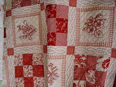 Redwork quilt by Buttontree Lane, via Flickr