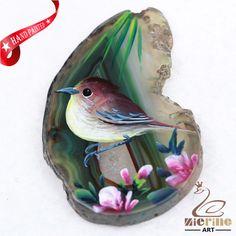 Hand Painted Bird Agate Slice Gemstone Necklace Pendant Jewelry D1705 1585 #ZL #Pendant