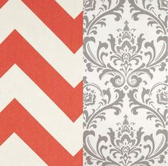 Coral Chevron and Grey and White Damask by TheBeddingCompany, $95.00