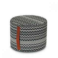 Designed by Rosita Missoni Dimensions: x Materials: Cotton Made in Italy Pouf has a removable cover and leather handle