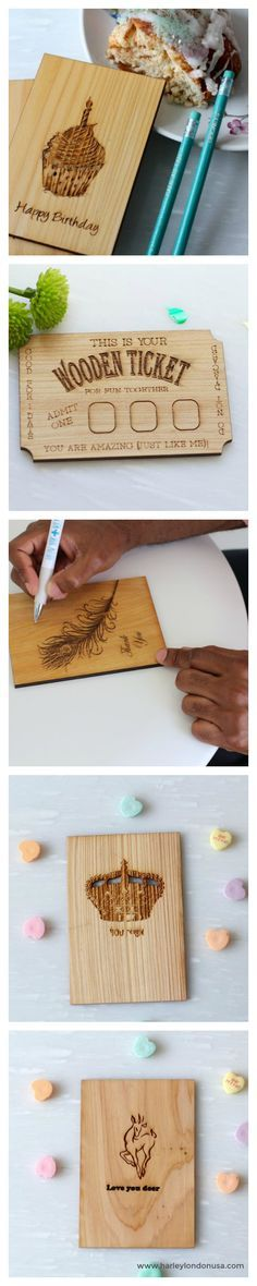 Handcrafted Engraved Wood Greeting Cards. Wooden Thank You Card, Birthday Card, First Date Card Anniversary and Love Cards. Made in New Orleans, LA from certified sustainable cypress wood.