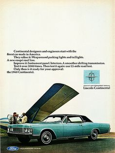 1968 Lincoln Continental Coupe. Dad drove one of these.  We never used the seat belts.