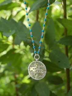 Long Sterling Silver Dandelion Turquoise Bead Necklace on Etsy, $80.00