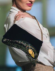 """Купить """"Фаворитка"""", вечерний клатч, вышивка бисером. - чёрный, вечерняя сумочка, театральная сумочка"""