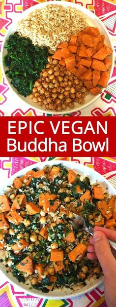 This vegan buddha bowl is amazing! So healthy, filling and yummy! Spicy chickpeas, sweet potatoes, spinach and brown rice, dressed with oil and lemon juice - I love this stuff!