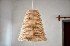 Creative Pendant and Floor Lamps Made from Repurposed Wooden Clothespins #Clothespins, #Lamp