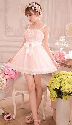 Sweet pink bow princess lace dress