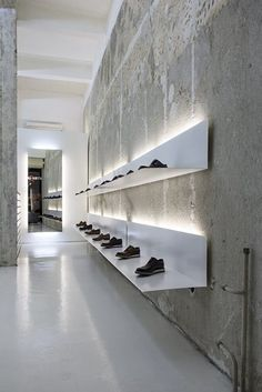 La Scarpa, Sofia, 2014, simple white shelves and lights to display shoes